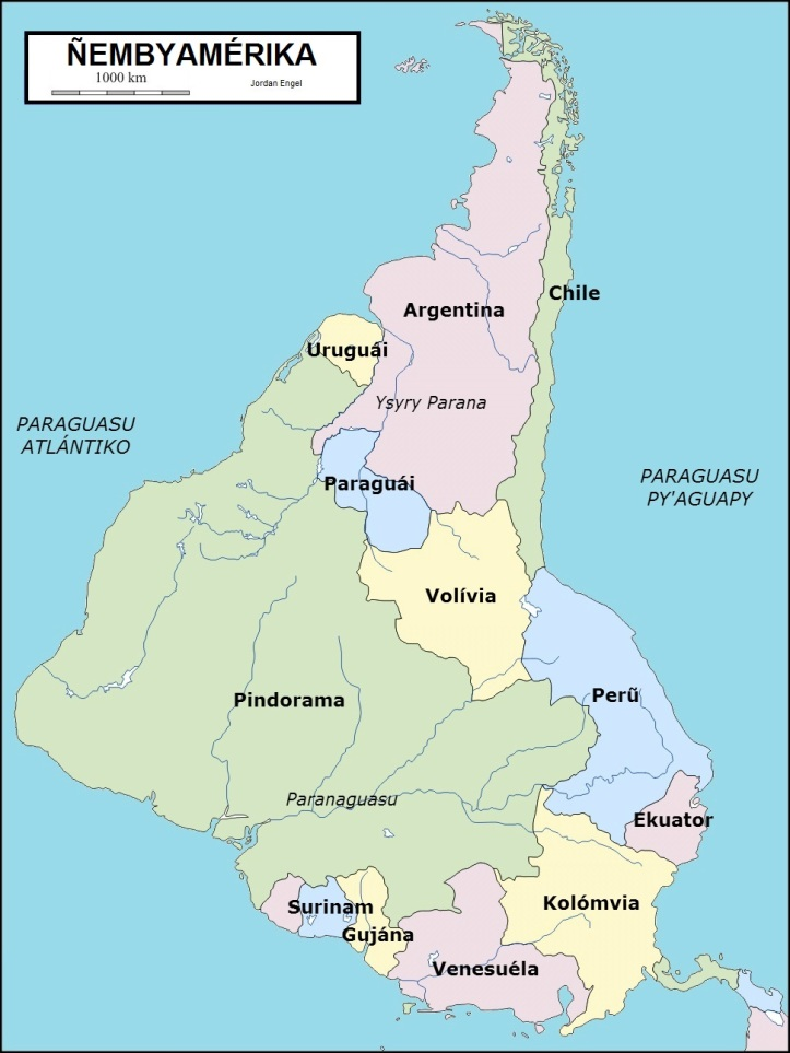 Ñembyamérika (South America) in Avañe'ẽ (Guarani) by Jordan Engel