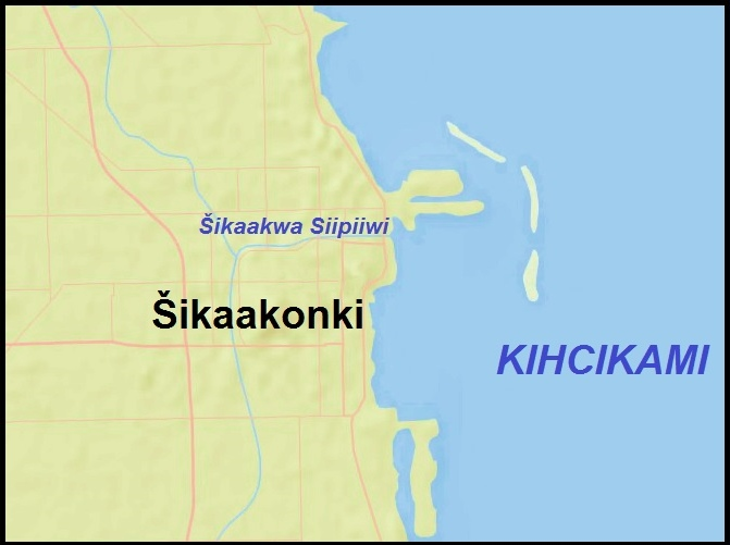 Šikaakonki (Chicago, Illinois) in Myaamia (Miami-Illinois), by Jordan Engel
