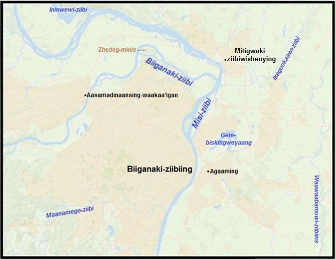 Biiganaki-ziibiing (St. Louis, Missouri) in Anishinaabemowin (Ojibwe), by Jordan Engel