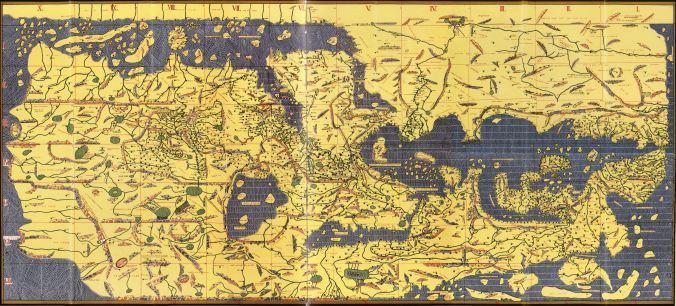 The Nuzhat al-mushtāq fi'khtirāq al-āfāq, by Muhammad al-Idrisi, circa 1154 CE.