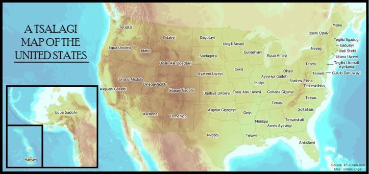 Tsalagi Map of the United States by Jordan Engel