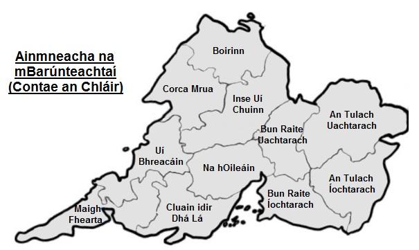 Barúnteachtaí (baronies) of Contae an Chláir (County Clare) in Gaeilge (Irish)