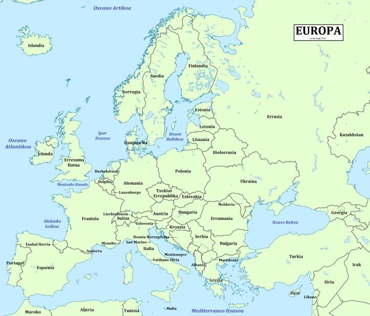 Europa (Europe) in Euskara (Basque), by Jordan Engel