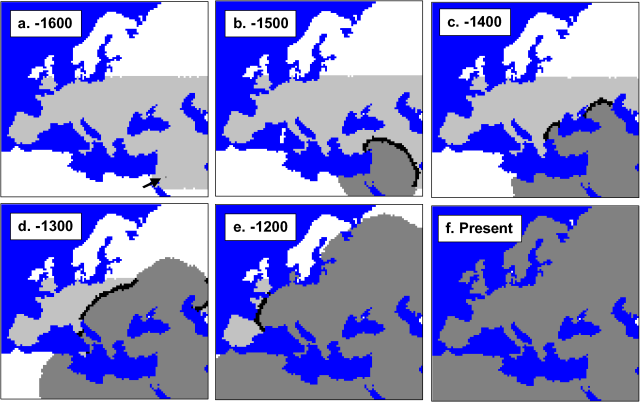 Range Expansion of Modern Humans into Neanderthal-dominated Europe from the Near East