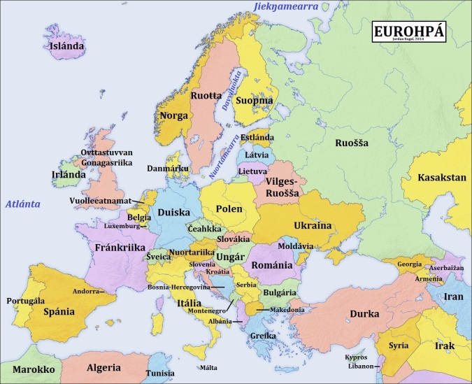 Eurohpá (Europe) in Davvisámegiella (Northern Sami), by Jordan Engel