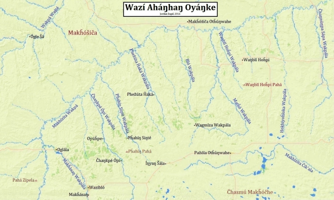 Wazí Aháŋhaŋ Oyáŋke (The Pine Ridge Reservation) in Lakȟótiyapi (Lakota). Map by Jordan Engel.