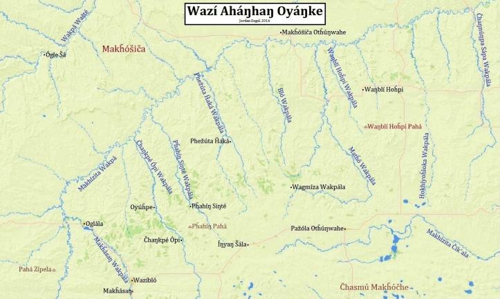Wazí Aháŋhaŋ Oyáŋke (The Pine Ridge Reservation) in Lakȟótiyapi (Lakota). Map by Jordan Engel.
