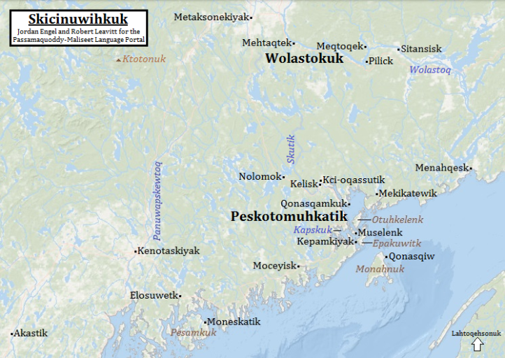 Skicinuwihkuk (in or on Native land) in Skicinuwatuwewakon (the Passamaquoddy-Maliseet language), by Jordan Engel and Robert Leavitt