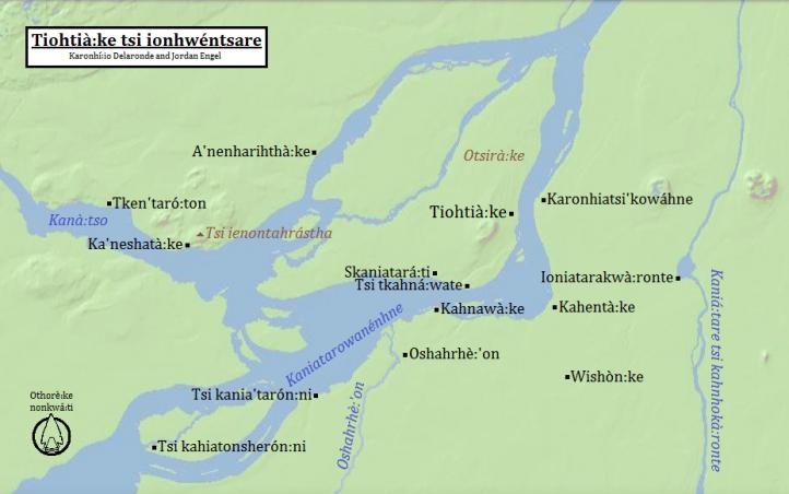 Tiohtià:ke tsi ionhwéntsare (Montréal, Québec) in Kanien'kéha (Mohawk), by Karonhí:io Delaronde and Jordan Engel