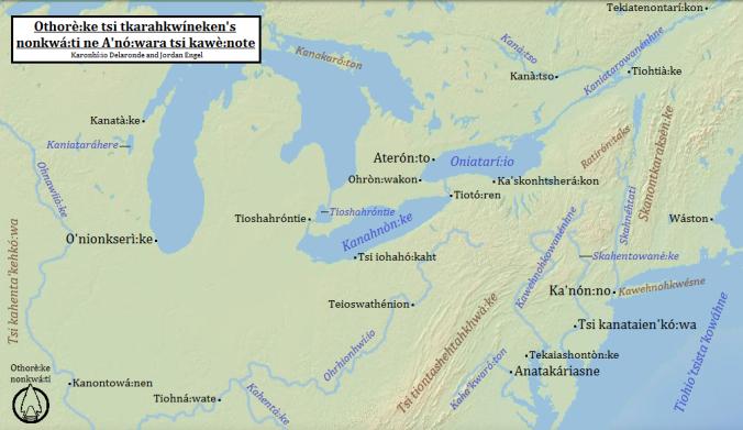 Othorè:ke tsi tkarahkwíneken's nonkwá:ti ne A'nó:wara tsi kawè:note (Northeast Turtle Island) in Kanien'kéha (Mohawk), by  Karonhí:io Delaronde and Jordan Engel