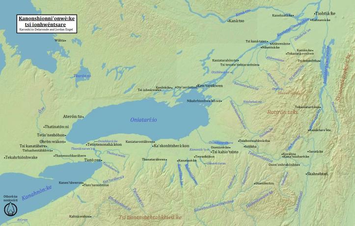 Kanonshionni'onwè:ke tsi ionhwéntsare (Haudenosaunee Country) in Kanien'kéha (Mohawk), by Karonhí:io Delaronde and Jordan Engel