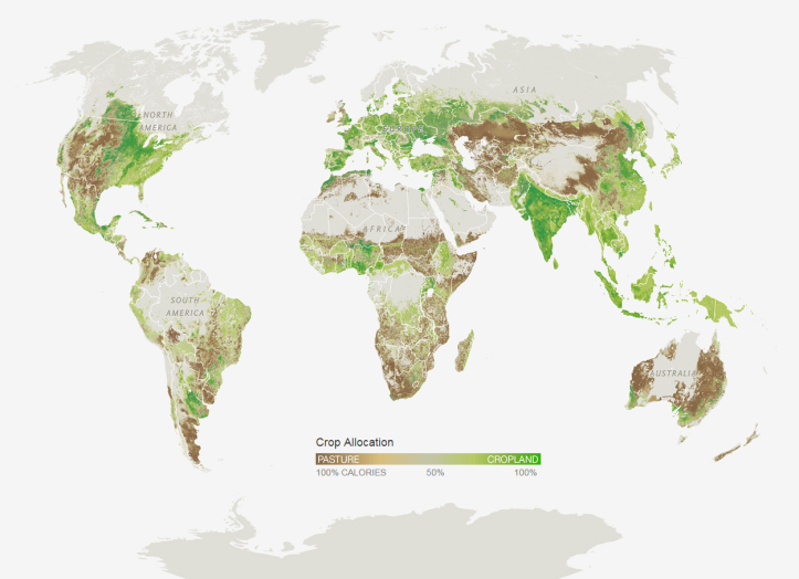 Where Agriculture Exists: Pasture vs. Cropland. Source: http://www.nationalgeographic.com/foodfeatures/feeding-9-billion/