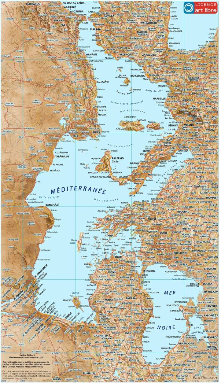 Mediterranean without Borders by Sabine Réthoré. Source: http://www.sabine-rethore.net/engl/artistic%20maps/mediterraneanwit.html