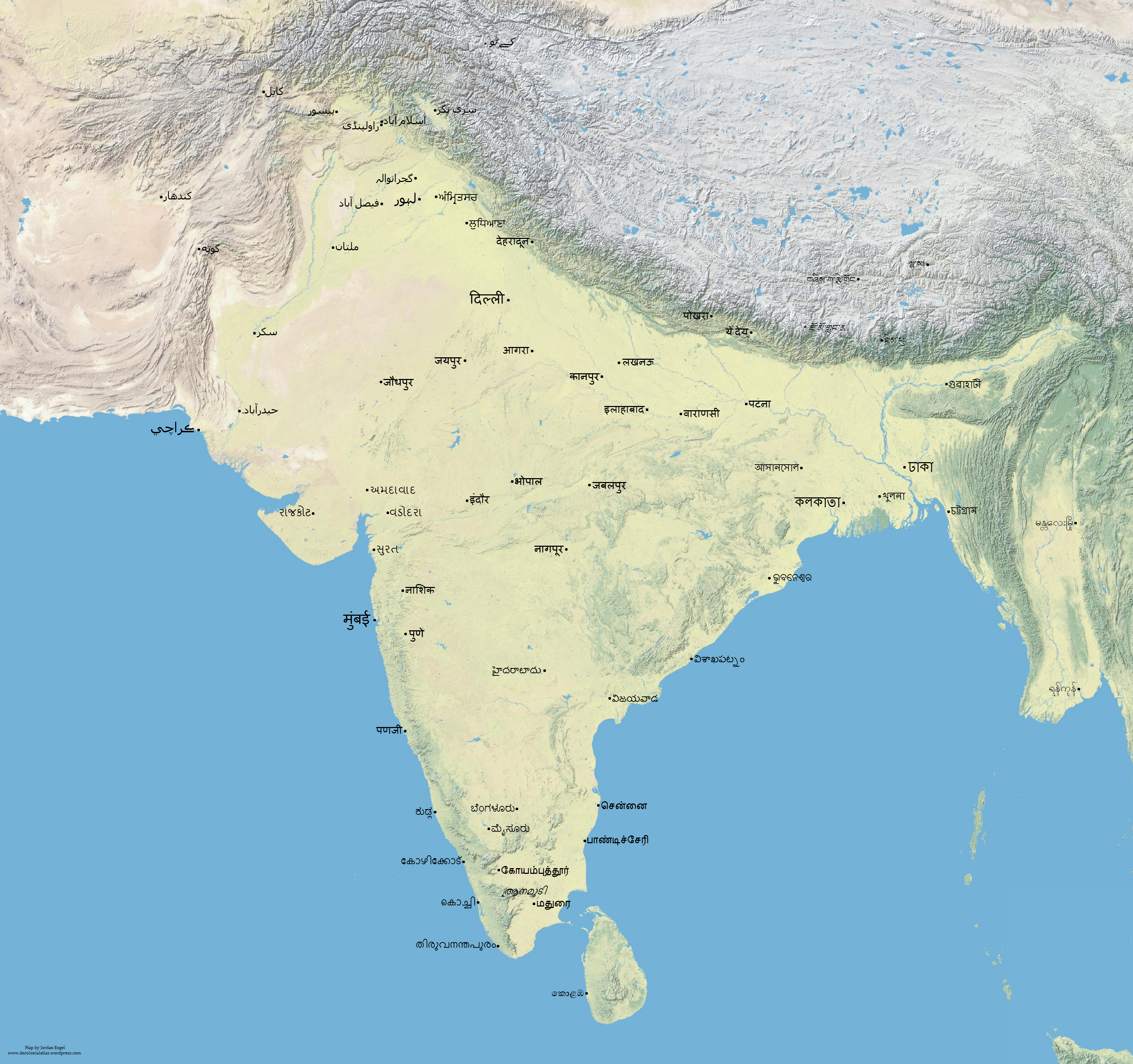 Map Of Asia No Names.South Asia Decolonized Native Place Names No Borders The