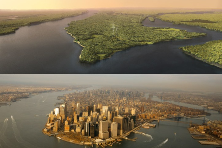 Above: Mannahatta circa 1609. Below: Southern Manhattan today.