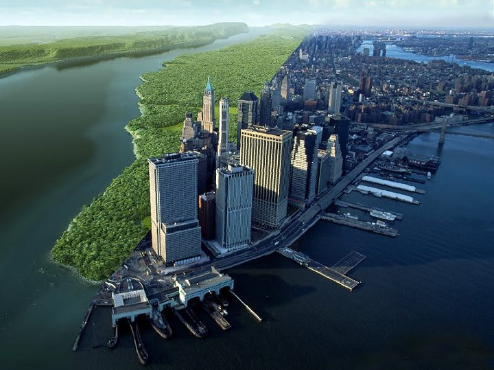 Left: Mannahatta circa 1609. Right: Southern Manhattan today.