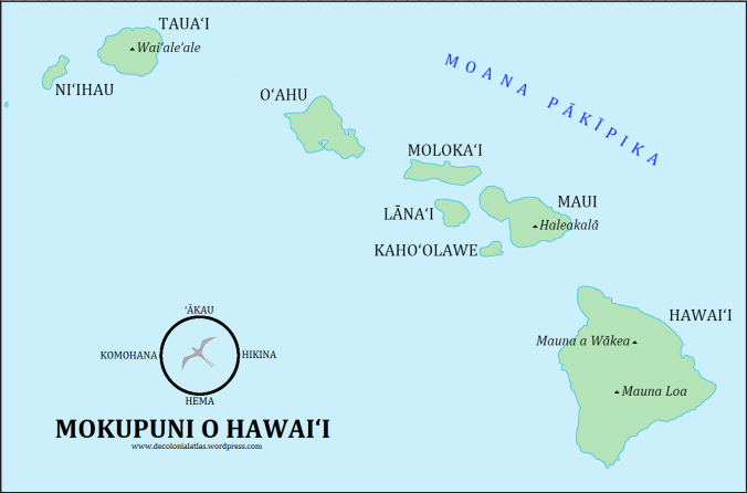 Mokupuni o Hawai'i (the Hawaiian Islands) in ʻŌlelo Hawaiʻi (the Hawaiian language)