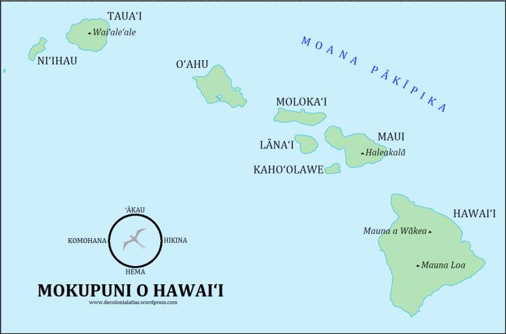 Mokupuni o Hawai'i (the Hawaiian Islands) in ʻŌlelo Hawaiʻi (the Hawaiian language)