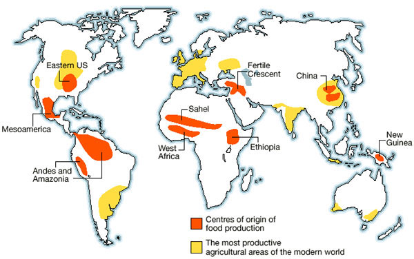 The Nine Homelands of Food Production by Jared Diamond