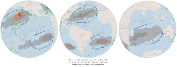 The Five Great Oceanic Garbage Patches. Source:  http://news.nationalgeographic.com/news/2015/01/150109-oceans-plastic-sea-trash-science-marine-debris/?source=maps