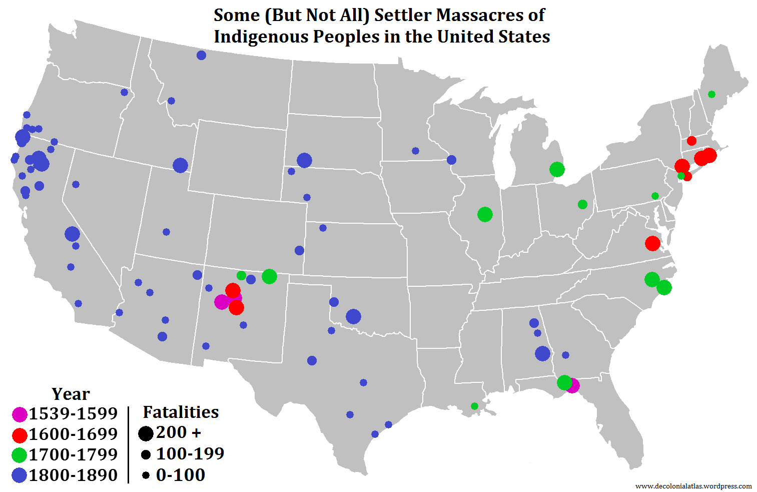 Indigenous Massacres In The US The Decolonial Atlas - Map of us 1700