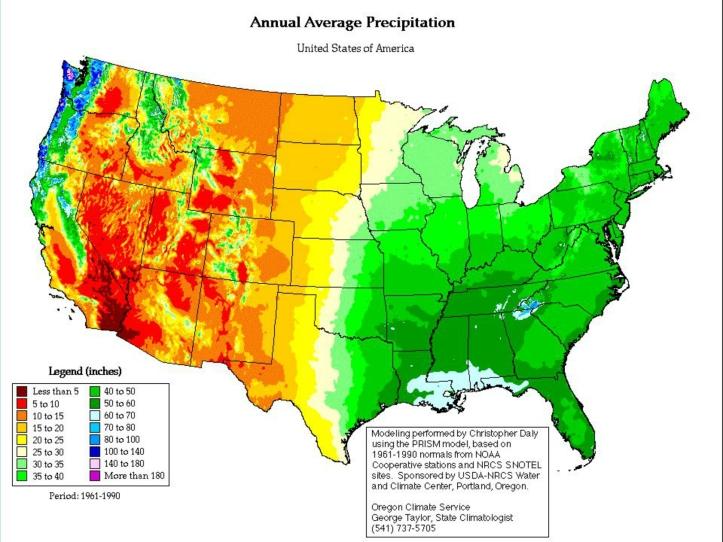 US Annual Average Precipitation Map