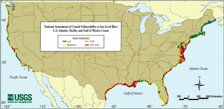 US Coastal Vulnerability and Sea Level Rise Map