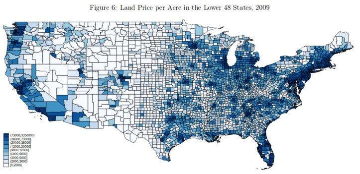 US Counties Land Price per Acre Map