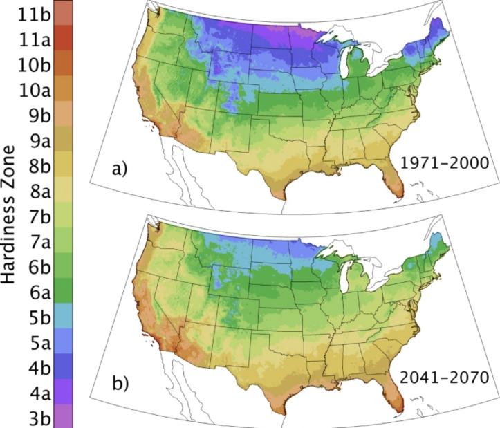 US Hardiness Zone Change Map