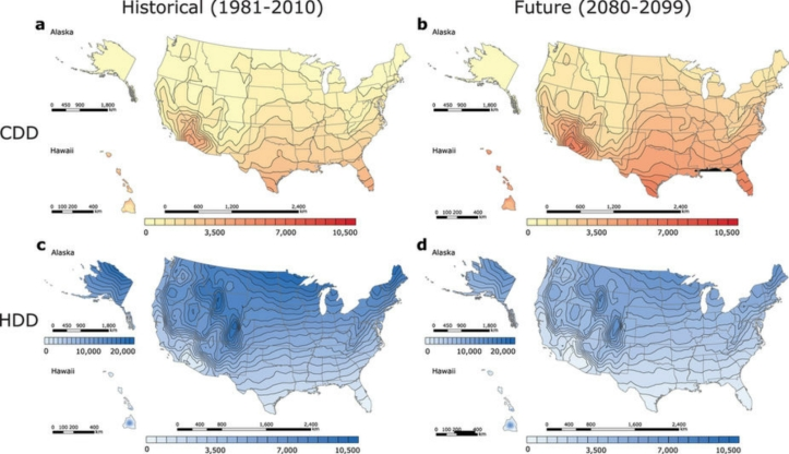 US Heating and Cooling Degree Days map
