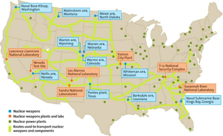 US Nuclear Weapons Facilities and Power Plants Map