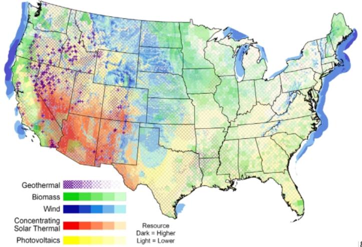 US Renewable Energy Potential Map