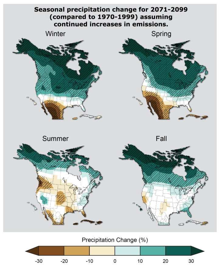 US Seasonal Precipitation Change Map