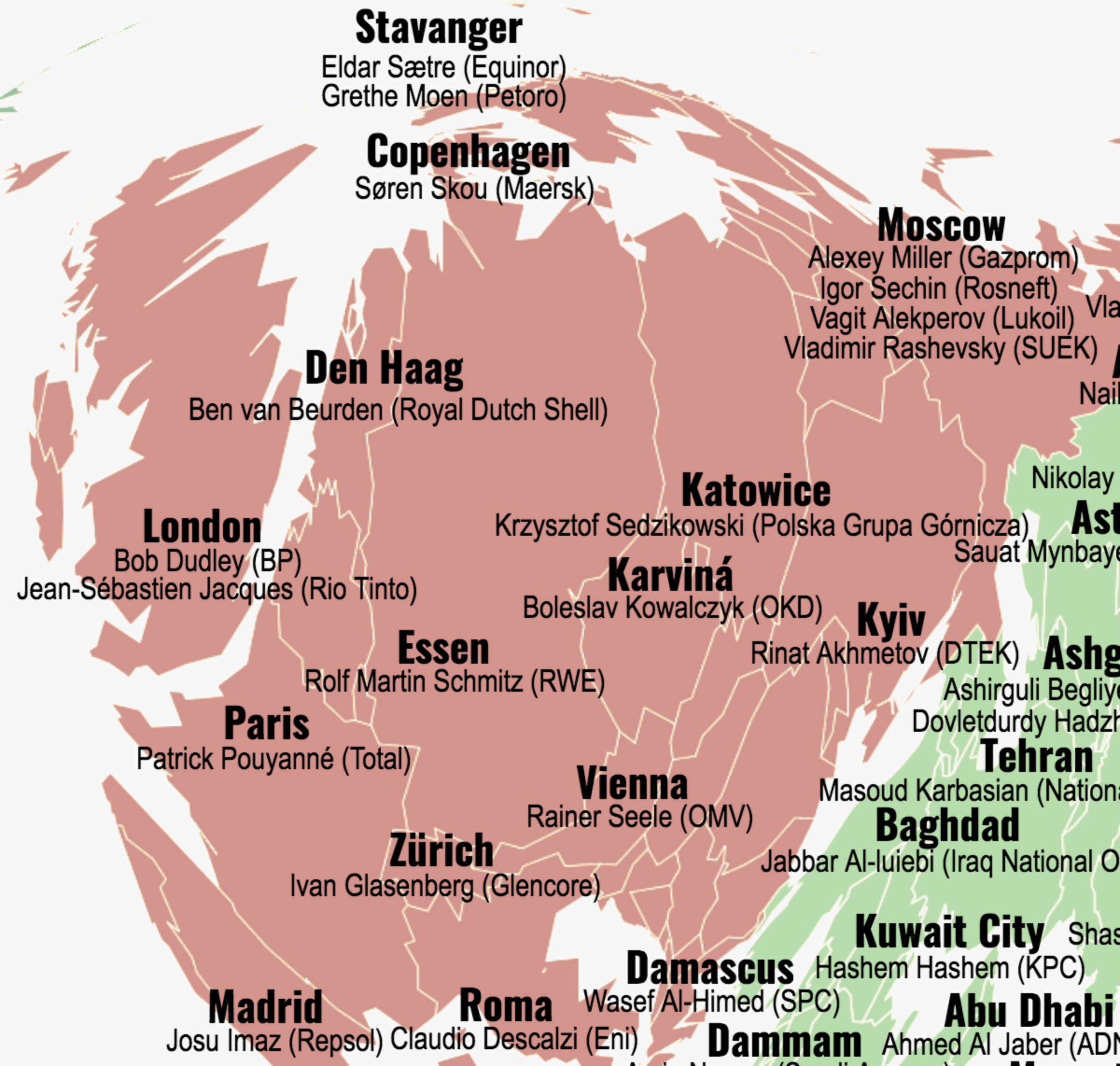 Names and Locations of the Top 100 People Killing the Planet