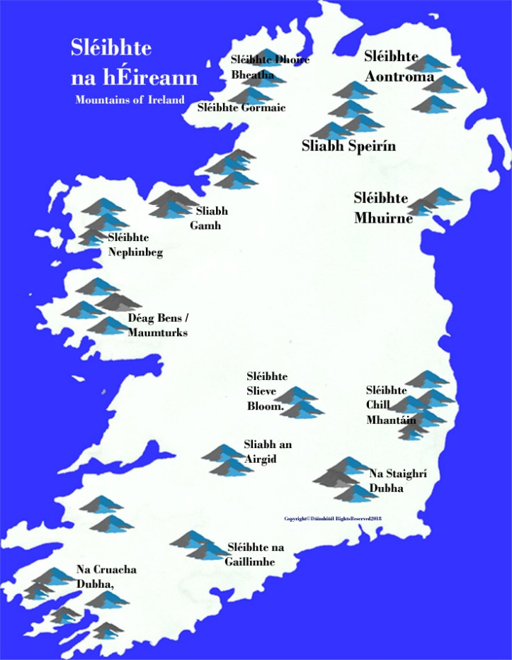 Map of Ireland mountains blue in Irish